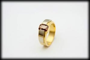 18 karaat bicolor ring 1.03 karaat-saffier