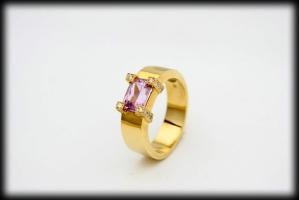 18 karaat gouden ring 0.15 karaat briljant en 1.8 karaat roze saffier